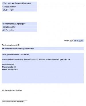 änderung Der Anschrift Adresse Kostenlose Vordruckede