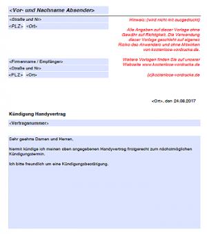 Vorlage Kündigung Handyvertrag